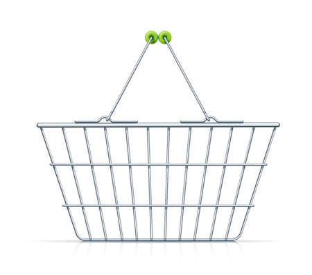 Shopping basket for supermarket products. Shop equipment. Realistic market bag. Front view. Isolated white background. Eps10 vector illustration. 矢量图像
