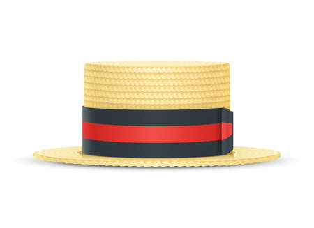 Vintage classic boater straw hat. Stylish cylinder headgear for gentleman. Retro wear accessory. Male fashion. Trendy clothes.