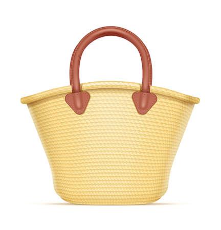 Einkaufstasche aus Stroh. Öko Weidenkorb für Produkte. Handtasche aus Spreu. Isolierter weißer Hintergrund. Eps10-Vektor-Illustration. Vektorgrafik