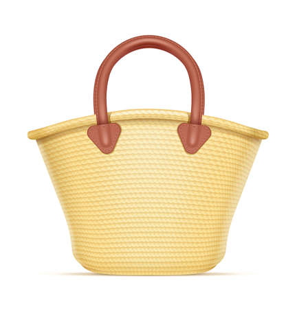 Straw shopping bag. Eco wicker basket for products. Chaff handbag. Isolated white background. Eps10 vector illustration. Illusztráció
