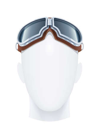 Pilot glasses. Eye protection. Air trend. Male fashion. Aviator vogue. Occupation equipment. Isolated white background. Eps10 vector illustration.