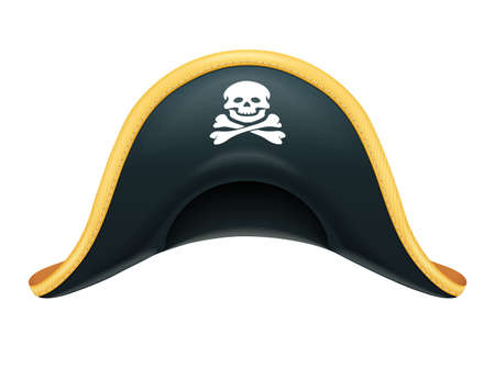 Pirate hat. Corsair headgear. Carnival costume. Caribbean filibuster. Isolated white background. Eps10 vector illustration. 矢量图像