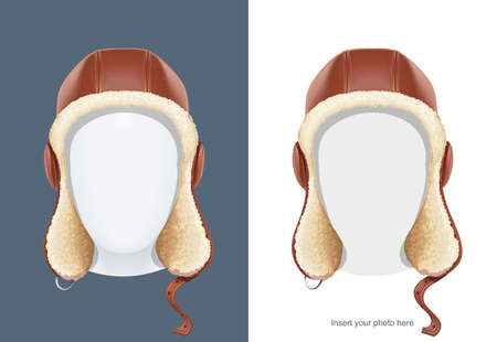 Pilot leather helmet. Winter hat with fur. Aviator headgear. Air trend. Male fashion. Warm dress. Occupation equipment. Isolated white background. Eps10 vector illustration.