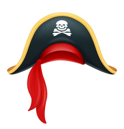 Pirate hat. Corsair headgear. Carnival costume. Caribbean filibuster. Isolated white background. Eps10 vector illustration. Illustration
