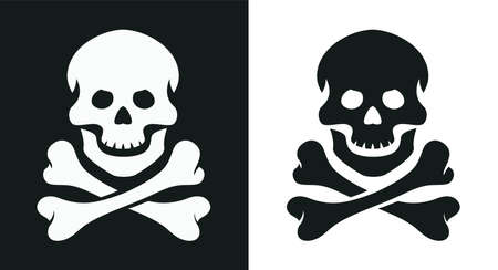 Skull and bone. Jolly Roger. Pirate symbol. Isolated white background.