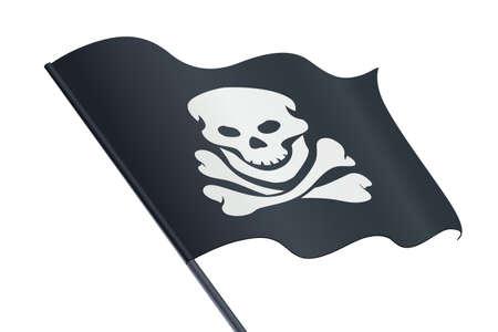 Bandiera nera con teschio e ossa. Jolly Roger. Simbolo dei pirati. Sfondo bianco isolato. Eps10 illustrazione vettoriale.