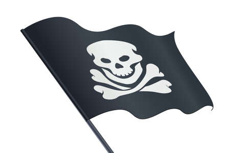 Black Flag with Skull and bone. Jolly Roger. Pirate symbol. Isolated white background. Eps10 vector illustration.