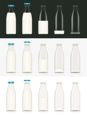 Glass milk bottle. Milky product. Dairy food. Isolated white background. Eps10 vector illustration.  イラスト・ベクター素材