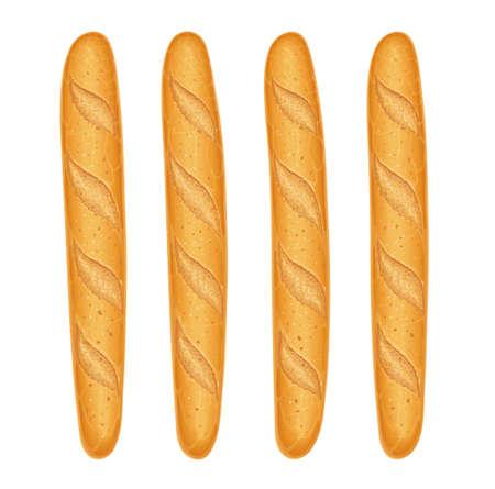 Pane baguette francese. Cottura fresca. Set di cibo gustoso. Prodotti da forno per il pranzo. Pasto tradizionale. Panetteria per la colazione. Sfondo bianco isolato. Eps10 illustrazione vettoriale. Vettoriali
