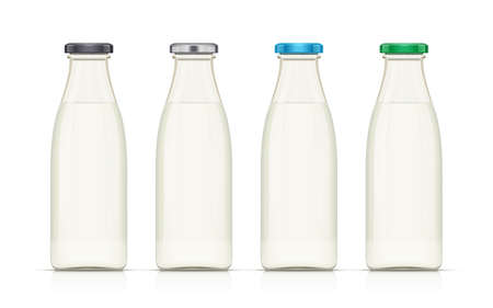 Glass milk bottle. Milky product. Dairy food. Isolated white background. Eps10 vector illustration. Illustration
