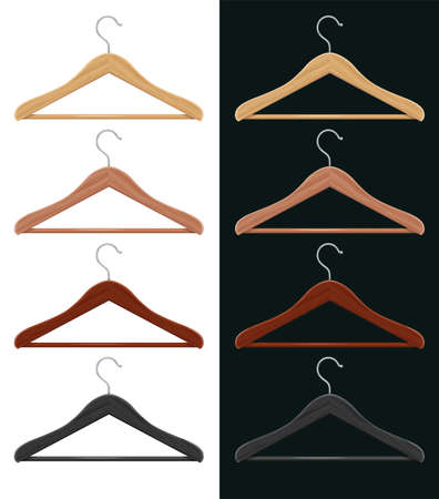 Wooden coat hanger for clothes. Storing furniture. Shop equipment. Wardrobe element. Isolated white background. Eps10 vector illustration.