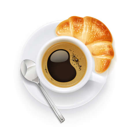 Filiżanka kawy i talerz. Croissant i aromatyczny napój na śniadanie. Kubek na napoje do cappuccino, americano, latte. Na białym tle. Ilustracje wektorowe