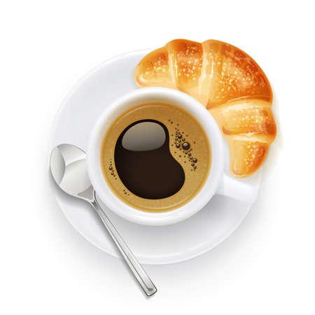Taza y plato de café. Croissant y bebida aromática para el desayuno. Taza de bebida para capuchino, americano, latte. Fondo blanco aislado. Ilustración de vector