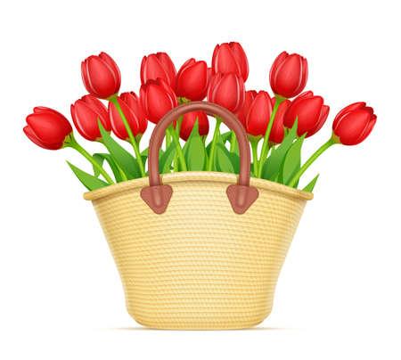 Cesta de mimbre con ramo de flores de tulipán. Decoración para regalo de primavera. Composición florística. Fondo blanco aislado. Ilustración de vector
