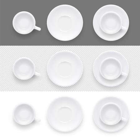 Taza y plato para café y té. Platos de cerámica para beber. Utensilio de porcelana para restaurante y cafetería.