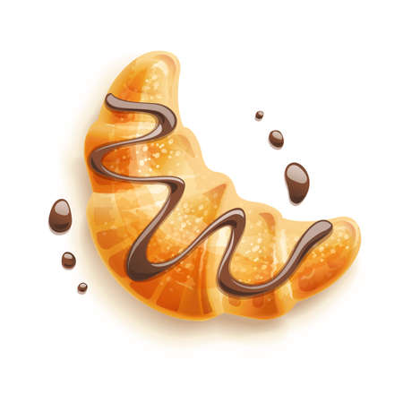Croissant mit Schokolade auf dem Teller. Traditionelle französische Backwaren. Backprodukt zum Mittagessen, Frühstück. Koch-Präsentation. Leckeres süßes Essen. Crimp leckeres Dessert. Vektor-Illustration.