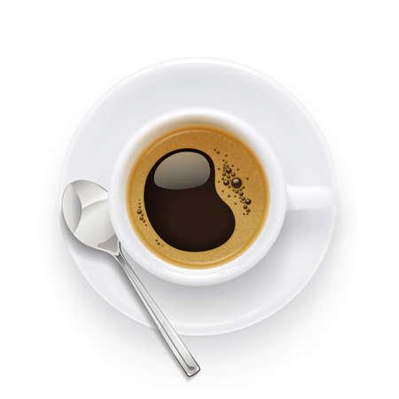 Tasse et assiette à café. Boisson aromatique au petit déjeuner. Tasse de boisson pour cappuccino, americano, latte. Fond blanc isolé. Illustration vectorielle Eps10.