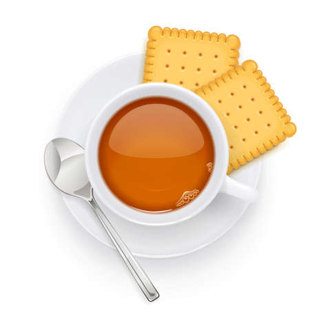 Tea cup and biscuit on plate. Traditional hot drink for breakfast. Tea time. Herbal tonic beverage. Isolated white background. Eps10 vector illustration.