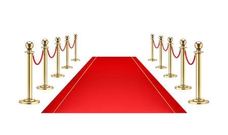 Red carpet and Golden barrier with rope for Vip presentation. Defence equipment for guard celebrity on red carpet. Isolated white background. Eps10 vector illustration. Zdjęcie Seryjne - 124056893