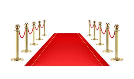 Tappeto rosso e barriera dorata con corda per presentazione Vip. Equipaggiamento di difesa per celebrità di guardia sul tappeto rosso. Sfondo bianco isolato. Eps10 illustrazione vettoriale.