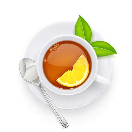 Tea cup and green leaf on plate. Traditional hot drink for breakfast. Tea time. Herbal tonic beverage. Isolated white background. Eps10 vector illustration.