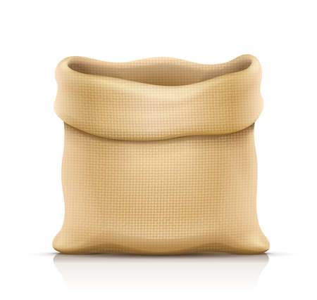 Burlap sack for products. Housekeeping and agriculture equipment. Open hessian bag for cargo. Isolated white background.