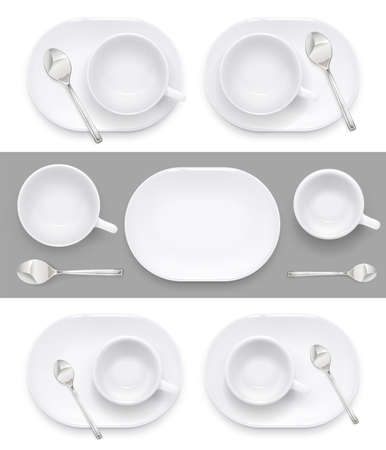 Cup and plate for coffee and tea. Ceramic dishes for drink. Porcelain utensil for restaurant and cafe. Eps10 vector illustration.