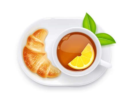 Tea cup and croissant on plate. Traditional hot drink for breakfast. Tea time. Herbal tonic beverage. Isolated white background. Eps10 vector illustration.