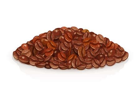 Heap of Coffee grains. Natural grain ingredient for americano, espresso. Arabica bean isolated white background. Eps10 vector illustration. Illustration