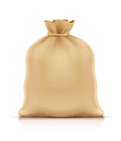 Burlap sack for products. Housekeeping and agriculture equipment. Close hessian bag for cargo. Isolated white background. Eps10 vector illustration. 写真素材 - 123496376