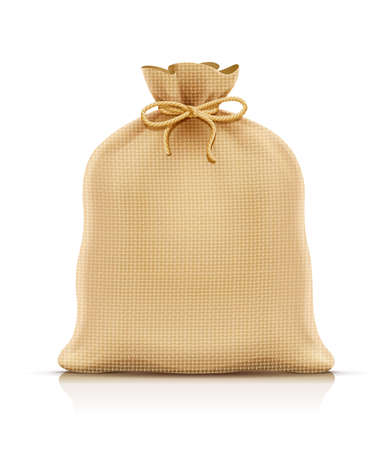 Burlap sack for products. Housekeeping and agriculture equipment. Close hessian bag for cargo. Isolated white background. Eps10 vector illustration. Foto de archivo - 123434077