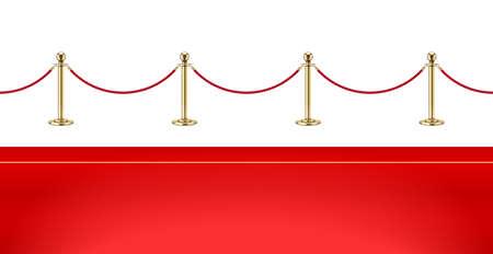Rode loper en gouden barrière met touw voor VIP-presentatie. Defensiemateriaal voor wachtberoemdheid op rode loper. Geïsoleerde witte achtergrond. Eps10 vectorillustratie.