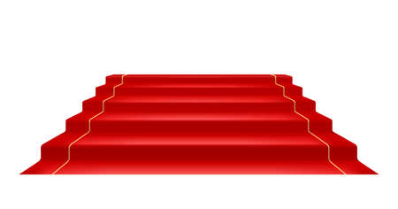 Red carpet and Golden barrier with rope for Vip presentation. Defence equipment for guard celebrity on red carpet. Isolated white background. Eps10 vector illustration.