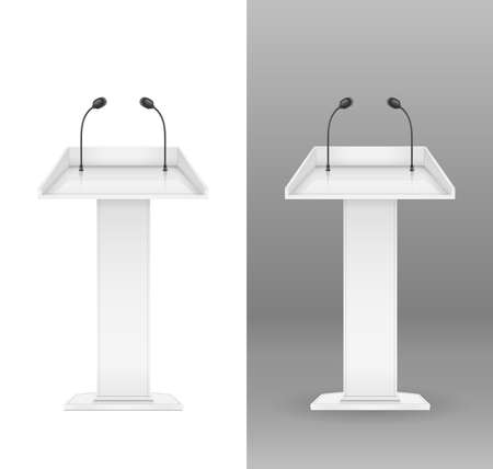 White tribune with microphone for speaker. Equipment for event. Orator place for performance. Isolated background. Eps10 vector illustration.