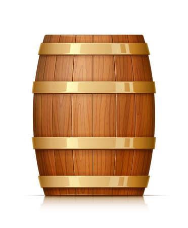 Drewniana beczka. Naczynie do przechowywania wina, piwa i napojów. Wyposażenie pubu i piwnicy na wino. Beczka whisky. Pojemności dębu jasnego. Na białym tle. Ilustracja wektorowa Eps10.