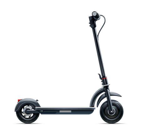 Scooter nero. Trasporto urbano. Veicolo elettrico ecologico. Ciclo di strada. Isolato su sfondo bianco.