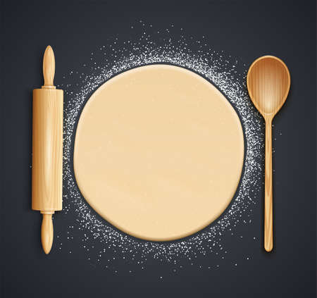 Wooden rolling pin, spoon and kneading dough with flour. Concept design for baking, pizza, cookie, biscuit, bread. Dark background. Eps10 vector illustration.