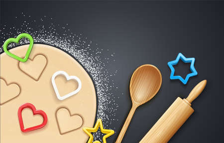 Wooden rolling pin, kneading dough with flour and cookie cutter. Concept design for baking, cookie, biscuit. Dark background. Eps10 vector illustration. Ilustração
