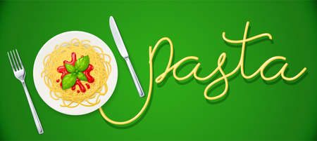 Spaghetti at plate. Pasta with ketchup. Noodles decorated basil leaf. Concept design for italian traditional food. Green background. Eps10 vector illustration.