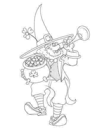 Dwarf with pot of golden coin. Gnome leprechaun with trumpet dancing irish traditional dance. Illustration for saint Patricks day. Isolated on white background. Eps10 vector illustration. 免版税图像 - 143762169