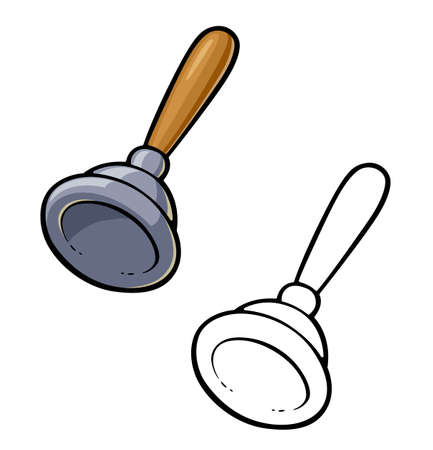 Plunger for Clean Toilet Bowl Sanitary Instrument, Isolated on White Background, Toilet Cleaning, Plumbing Service. Plumbing Toilet leakage or clogging, Plumber Repair Tools. . Eps10 vector illustration. Vettoriali