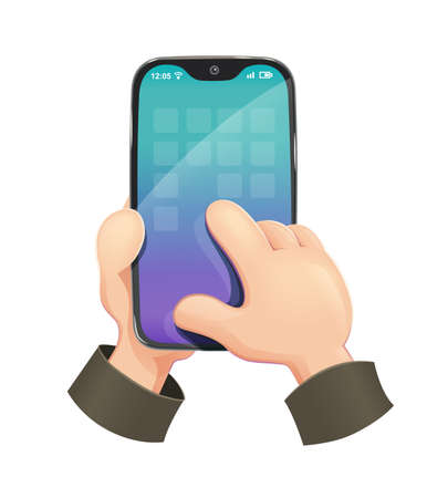 Phone in Hand. Modern Smartphone, Hand holding mobile phone in flat design style. Vector illustration.