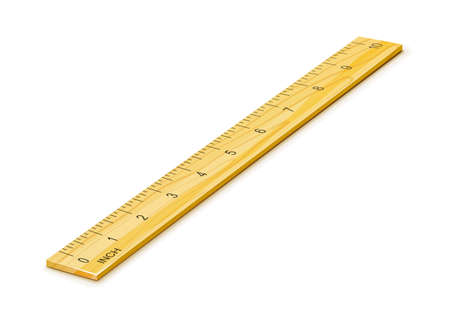 Wooden Ruler for Measuring. School Inventory, 10 inch, isolated on white. Math tool. Vector illustration.