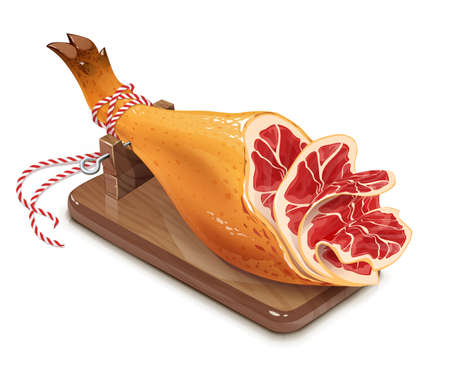 Jamon. Hamon. Traditional Spanish food on wooden support. Meat. Pig leg, Isolated on white background.