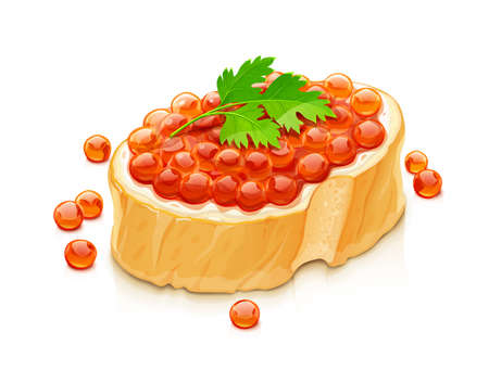 Sandwich with salmon caviar. Delicacy fish food, Isolated on white background. Eps10 vector illustration. Vettoriali