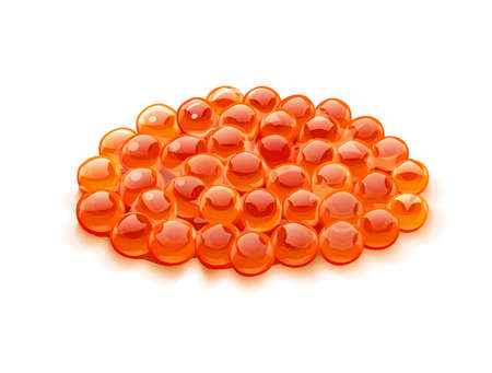 Red salmon caviar. Delicacy fish food, Isolated on white background. Eps10 vector illustration.