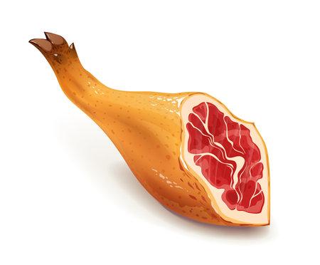 Jamon. Hamon. Traditional Spanish food. Meat. Pig leg, Isolated on white background. Eps10 vector illustration.