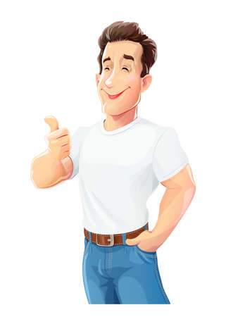 Young handsome boy in jeans and shirt gesture okay. White cartoon athletic man wear model. Isolated on white background. Eps10 vector illustration.
