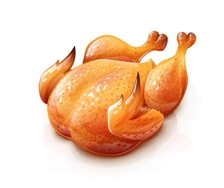 Roasted chicken. Chick meat prepared at grill. Satisfying food, Isolated on white background.