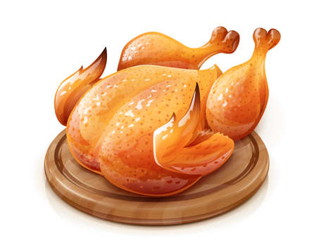 Roasted chicken. Chick meat prepared at grill. Satisfying food, Isolated on white background. Vettoriali